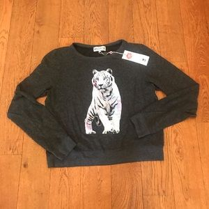 charcoal grey cozy pullover with tiger on front🐅